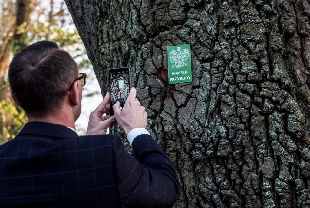 Mężczyzna w marynarce w kratę fotografuje telefonem komórkowym zieloną tabliczkę z napisem Pomnik przyrody
