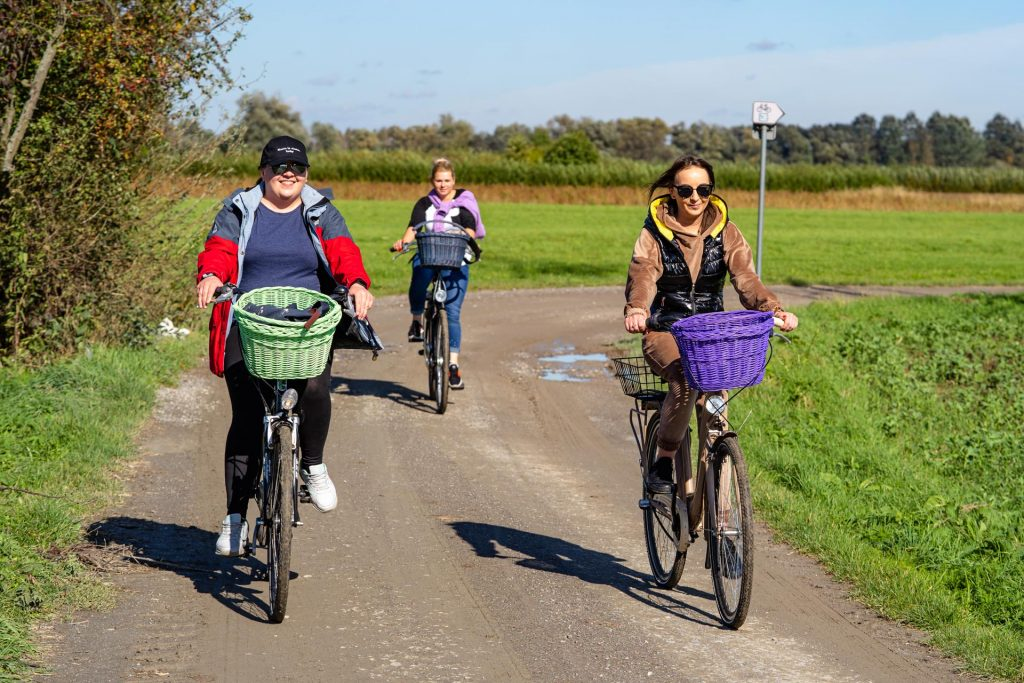 Trzy rowerzystki kolorowo ubrane jadą polną drogą wzdłuż łąk