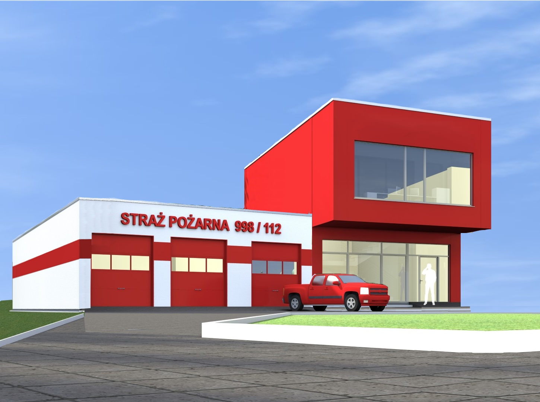 Wizualizacja nowoczesnego budynku koloru biało-czerwonego znapisem Straż pożarna 998/112/ Przedbudynkiem czerwony samochód typu pick-up
