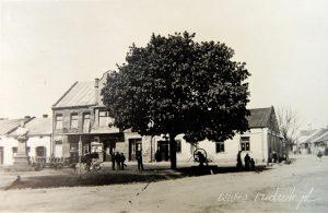 Czarno-buałe zdjęcie budynku przesłoniętego dużym drzewem